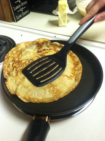 See how I can slide it right up and over the edge of the pan here?